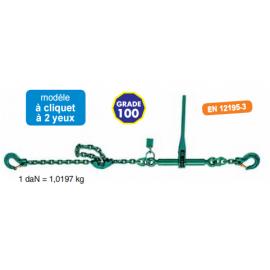 Ensemble tendeur et chaîne d'arrimage grade 100 vert EN12195-3