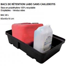 """Bac de rétention """"labo"""" sans caillebotis 10 litres"""