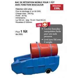 Bac de rétention mobile pour 1 fût 230 litres basculeur