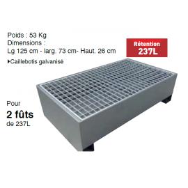 Bac de rétention acier galvanisé avec caillebotis 2 fûts 237 litres