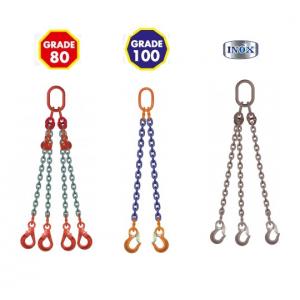 Elingues chaîne Grade 80, 100 & 120, élingues chaîne inox