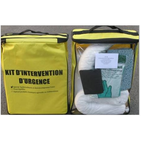 Kit d'intervention absorbant pour hydrocarbures 22 litres