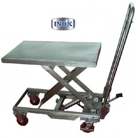 Table élévatrice hydraulique mobile INOX 100 & 200 KGS