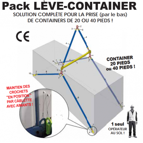Pack lève container de 20 ou 40 pieds