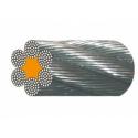 Câble acier galva 6 torons de 37 fils âme textile