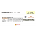 Chaîne INOX 316 maillon long Norme DIN 763
