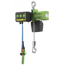 Palan électrique RWM à chaîne 500 kg et 1000 kg triphasé suspente par crochet