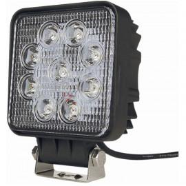 Phare de travail carré 9 LED, 27W