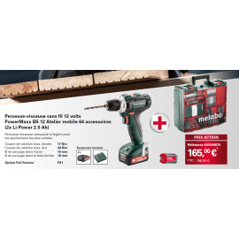 Perceuse-Visseuse sans fil 12V Metabo PowerMaxx BS12 (2x Li-Power 2.0Ah) + Atelier mobile 64 Accessoires
