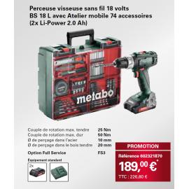 Perceuse-Visseuse sans fil Metabo 18V (2x Li-Power 2.0Ah) BS18L avec Atelier Mobile 74 Accessoires