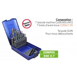 COMPOSITION DE TARAUDS M3 À M12 + FORETS D'AVANT-TROUS COBALT 5%