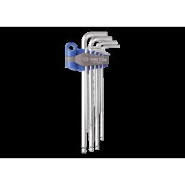 Jeu de clés mâles 6 pans extra longues à tête sphérique métriques en étui - 9 pièces