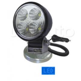 Phare de travail rond 4 Leds magnétique - 12/24 volts - ø 83 x H 123 x Ep 89 mm - IP68