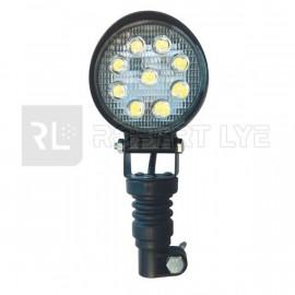 LEDS                  Garantie 2 ans Phare de travail rond 9 Leds sur hampe - 10/30 Volts - ø 115 x H 255 x Ep 60 mm - IP67
