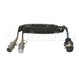 Cordons adaptateurs PL 15 / 2X 7 Pôles  pour tracteurs et semi-remorques equipés de socles 15 et 7 pôles - 24 Volts