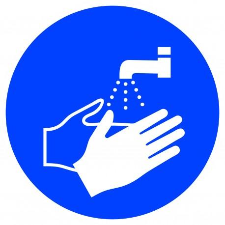 """Panneau adhésif """"lavage des mains obligatoire"""""""