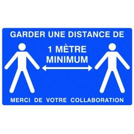 """Panneau """"garder une distance de 1M minimum"""" adhésif"""