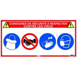 """Panneau """"4 en 1"""" spécial consignes de sécurité virus"""