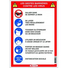 """Panneau """"5 gestes barrières"""" adhésif"""